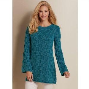 Soft Surroundings Snow Wash Tunic Sweater Sz M